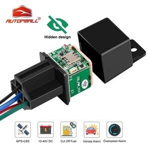 Relay GPS Tracker Car GPS Locator Cut Off Oil Fuel Hidden Design GSM GPS Google Maps Real-time Car Tracker Shock Alarm Free APP(China)