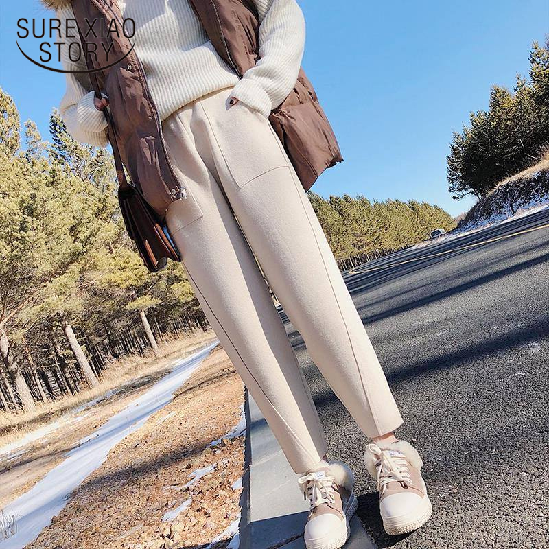 Fashion 2019 Winter High Waist Women's Harem Pants Woolen Women Plus Size Casual Solid Warm Female Long Women Trousers 1787 50