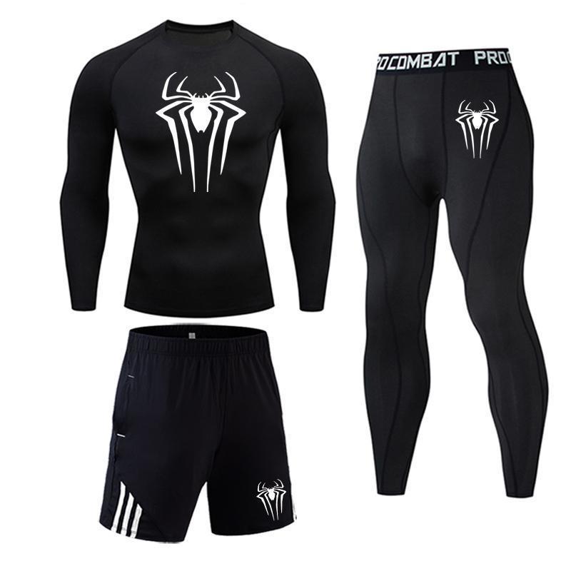 Spiderman Logo Men Compression Suit Leggings T Shirt Sport Suit Fitness Gym Shirt Tights Jogging Pants Men Thermal Underwear Set