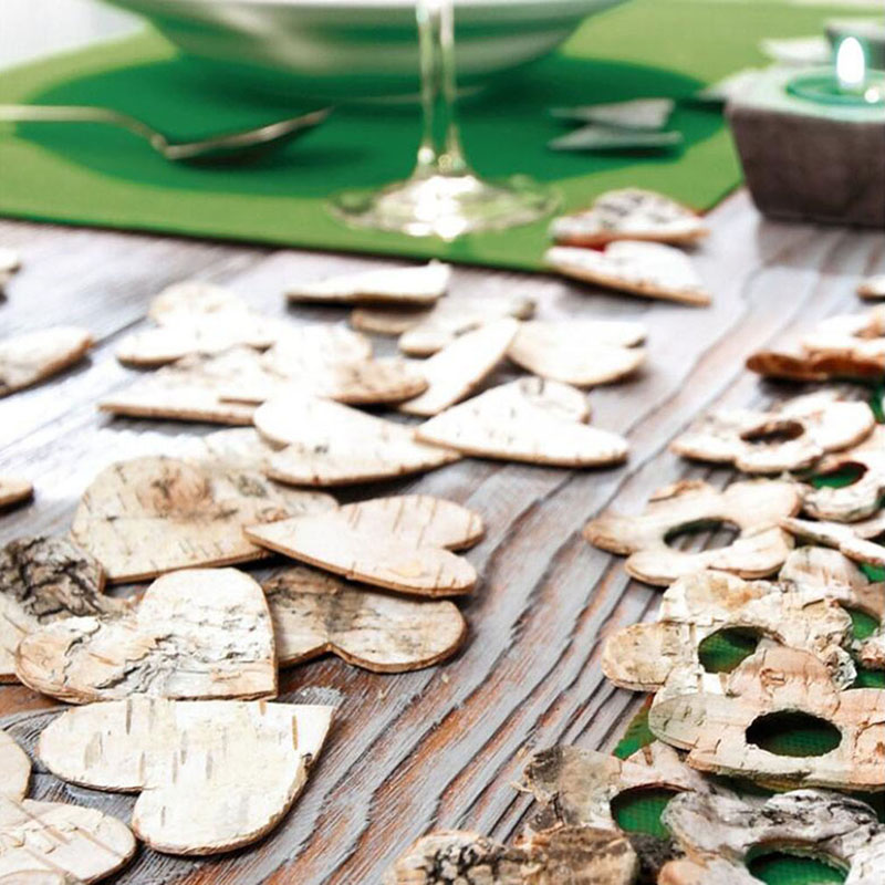 80Pcs/Pack Original Birch Bark Wedding Supplies Wooden Love-Heart Confetti Wedding Party Event Decorations Props Festival Gifts