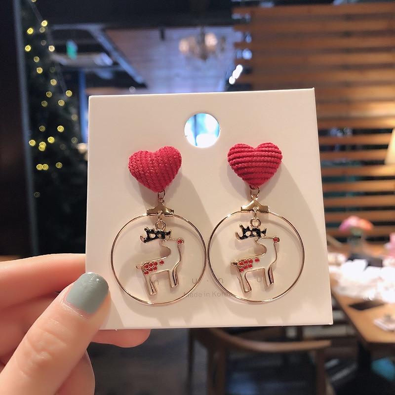 Rinhoo рождественские круглые серьги-подвески в форме сердца оленя серьги для пирсинга уха крючок серьги ювелирные изделия для женщин