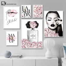 Pink Flower Perfume Fashion Lady Poster Sliver Lips Makeup Print Canvas Art Painting Wall Picture Modern Girl Room Home Decor