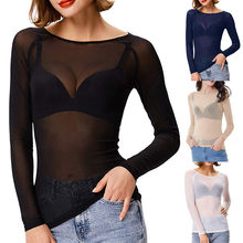 T-shirt Transparent à manches longues pour femmes, Haut moulant, Sexy, sans couture, en maille, Slim, été