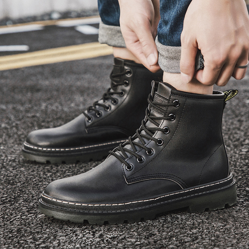 Fashion Winter Men Cotton Boots Casual Bota Coturnos Masculino Male Warm Waterproof Boots Motorcycle Boots Men Martin Boots