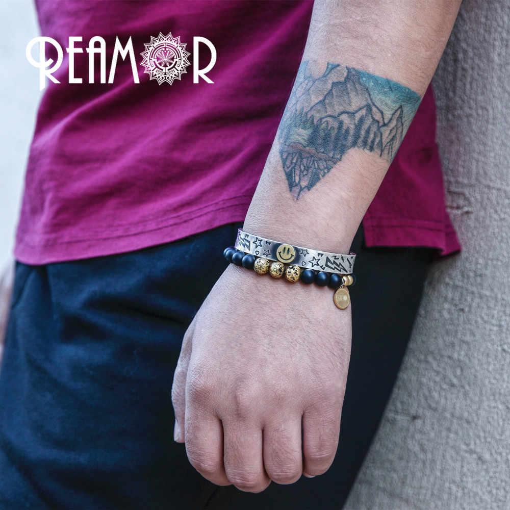 REAMOR złoty naturalny kamień lawowy koraliki energetyczne bransoletki ze sznurków biżuteria ze stali nierdzewnej Pulseira Masculina dla mężczyzn