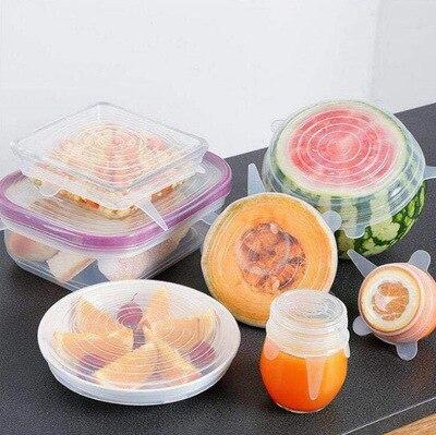 6Pcs Stretch Deckel Lebensmittel Halten Dichtung Schüssel Reusable Airtight Stretchy Wrap Abdeckung Küche Kochgeschirr