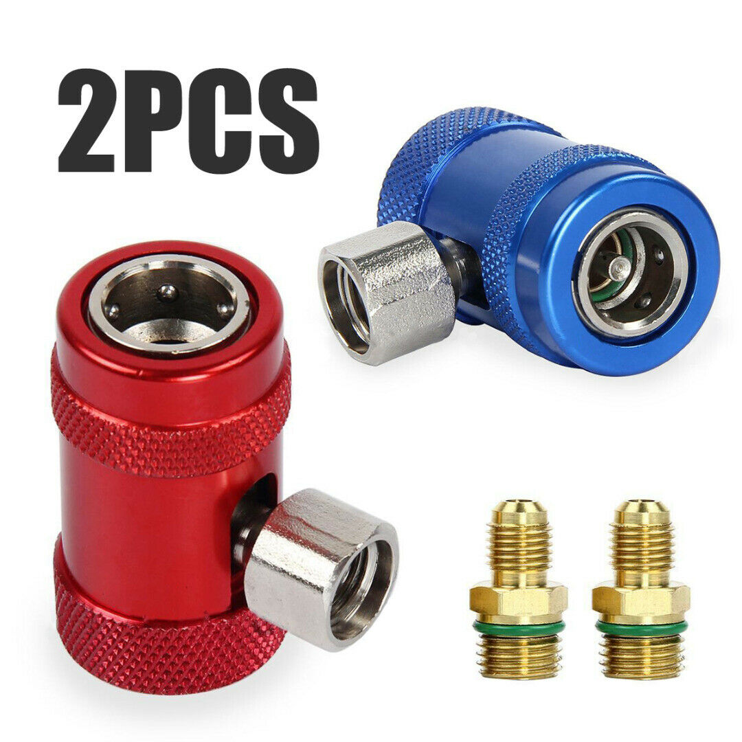 Brass Metal Refrigerant <font><b>Adapter</b></font> <font><b>R1234yf</b></font> <font><b>R134a</b></font> Quick Connector Air Conditioning Accessories Valve Parts Red+ Blue 2PCS image