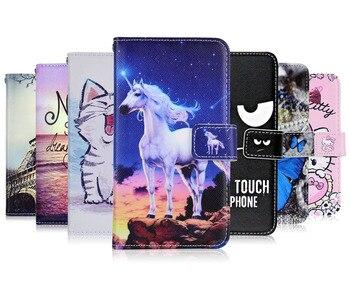 Перейти на Алиэкспресс и купить На Tecno POP 2S чехол с мультяшным кожаным кошельком чехол для Tecno POP 2S Единорог кошка бабочка Kickstand телефон сумка с карманом для карт