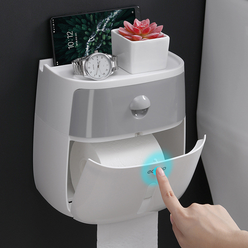 Toilet Paper Holder Waterproof Wall Mounted Toilet Paper Tray Roll Paper Tube Storage Box Tray Tissue Box Shelf Bathroom Product