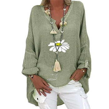 5XL Casual Women V Neck Linen Cotton Blouse Shirt Elegant Daisy Print Female Tops Spring Autumn Long Sleeve Loose Blusa Pullover 1
