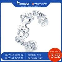 BAMOER offre spéciale 925 en argent Sterling réglable chat et chien empreintes patte sentier anneaux pour femmes fête bijoux en argent SCR424