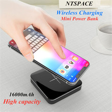 2.1A Quick Charge Aluminium Alloy Mirror Power bank 16000mAh Portable Wireless Charge Mini Power Bank Dual USB Fast Charging