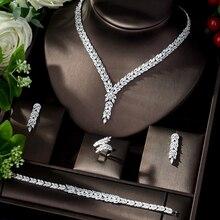 HIBRIDE 2019 طقم مجوهرات أفريقي أنيق للنساء زركونيا زينت دبي مجوهرات الزفاف مجموعات مجوهرات الزفاف N 1111