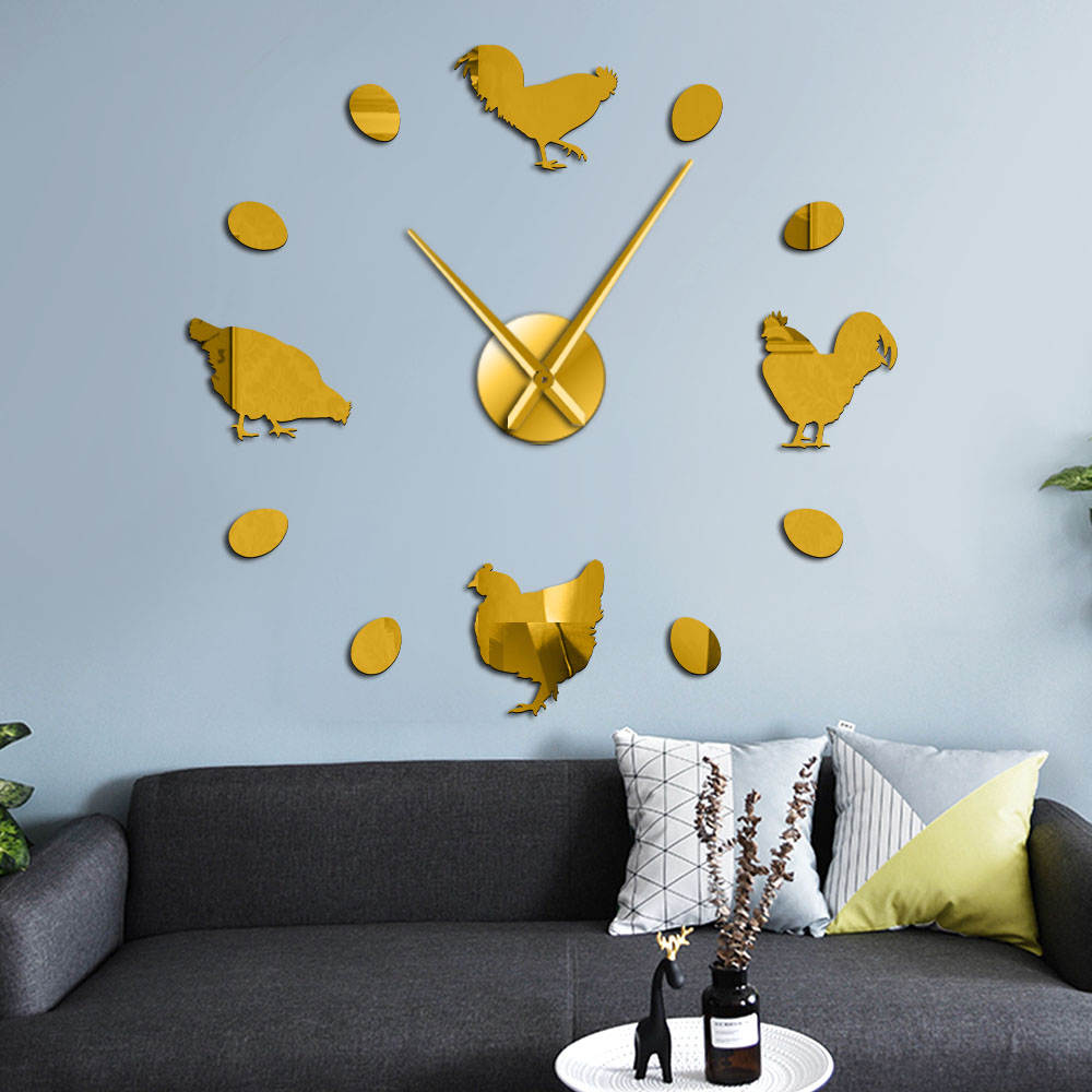 Frameless Farm Chicken And Fresh Farm Eggs DIY Giant Wall Clock Farmhouse Rustic Wall Decor Kitchen Wall Watch Mirror Stickers image