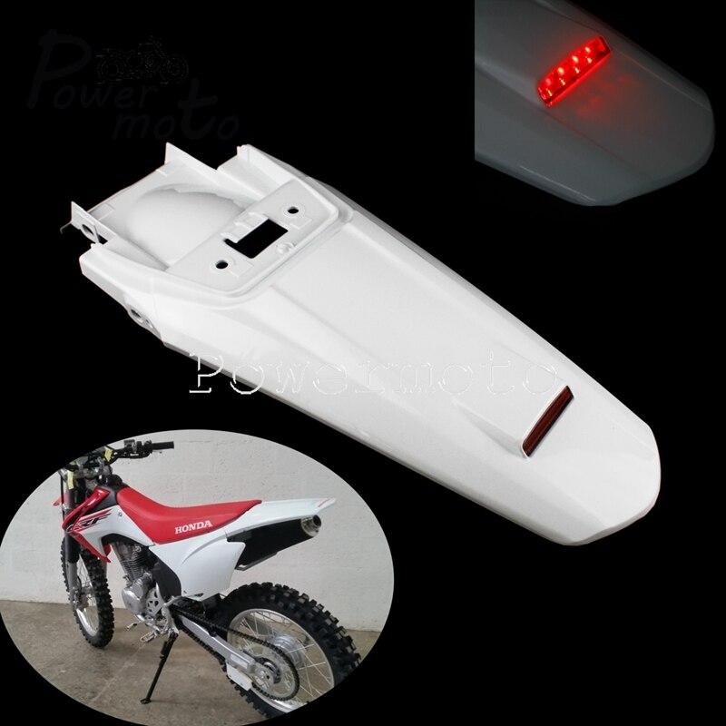 MX Trail White Dirt Pit Bike Motocross Rear Fender LED Tail Brake License Plate Light Splash Mudguard For Honda CRF150F CRF230F