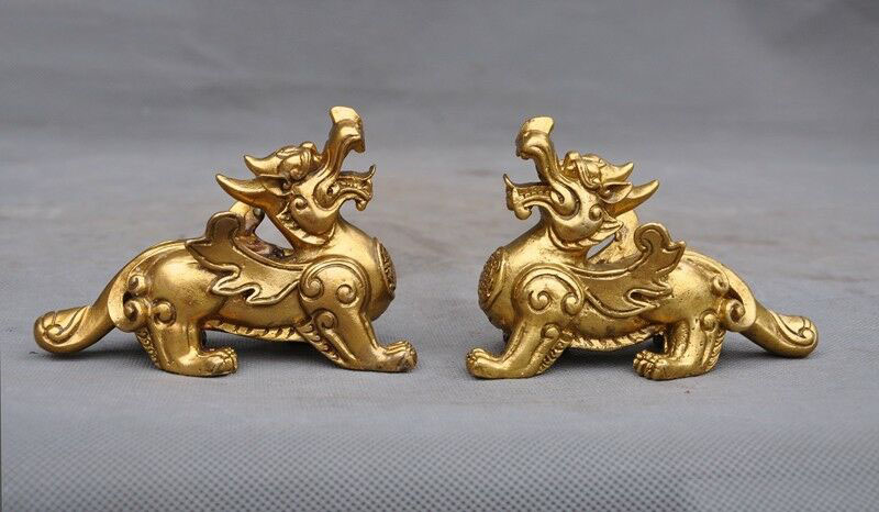 wedding decoration Chinese brass Feng Shui auspicious unicorn Brave troops Pixiu beast statue Pair