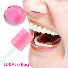 RUIMIO 100pcs Pink Disposable Oral Care Sponge Swab Tooth Cleaning Mouth Swabs