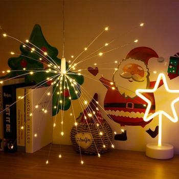 Weihnachten Feuerwerk String Lichter Für Garten Dekoration Lampen 100/200 LED Hängen Starburst Bouquet Form Nacht Lichter