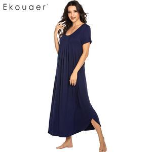 Image 5 - Ekouaer נשים ארוך כתונת לילה Loungewear שמלת Nightwear O צוואר קצר שרוול מוצק הלבשת לילה שמלת נקבה Sleepshirts