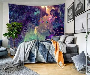 Image 2 - Simsant Mushroom Forest Castle Tapestry Fairytale Trippy Colorful Butterfly Wall Hanging Tapestry for Home Decor GT2TDBZY0425