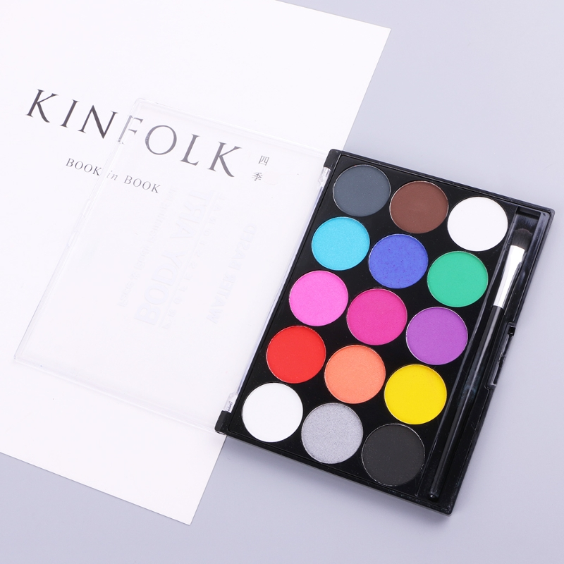 15 Colors Body Paint Makeup Facial Painting Water Ink Oil Graffiti With Brush Pigment Powder