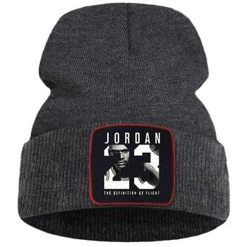Fashion Jordan 23 Print Bonnet Hat Women Casual Knitted Hats Men Outdoor Cotton Winter Hat Warm Solid Color Simple Beanie Caps