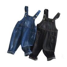 الأطفال بذلة الدينيم 12 متر إلى 4T الاطفال الأزرق وزرة الجينز السراويل مع ثقوب مكسورة الفتيان الفتيات الأطفال الملابس