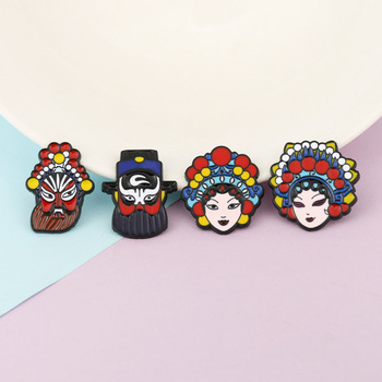 Chinese Style Enamel Peking Opera Brooch Pin Traditional Bride And Bridegroom Brooches Jewelry Fashion Drama Metal Badge Pin New image