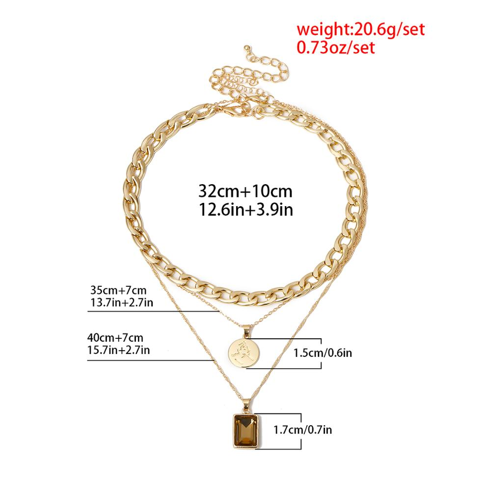 Vintage Cuban Crystal Pendant Choker Necklace for Women 2020 Fashion Statement Steampunk Chunky Chain Necklace Clavicle Jewelry