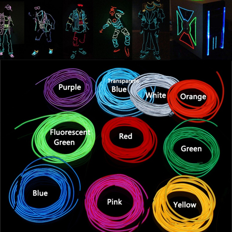 1M Neon Light El Wire With Battery Pack Light Dance Party Decor DIY Costumes Parties Holiday Decoration Flexible Wire Rope Tube