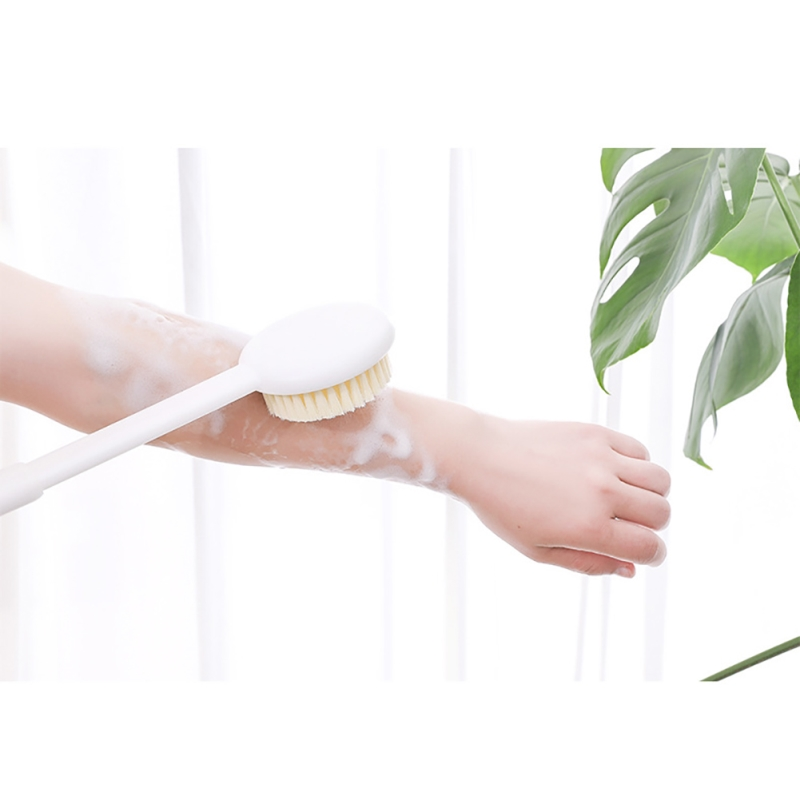 High quality Long Handled Plastic bathroom Body Bath Shower Back Brush Scrubber Skin Cleaning Massager Tail lanyard easy