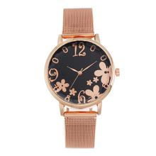 Fashion Casual Floral Pattern wrist watches for women stylish luxury gold mesh stainless steel Strap ladies watch reloj mujer
