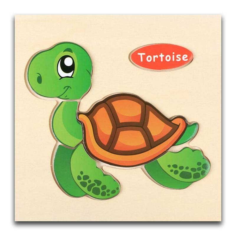 3D Wooden Puzzle Jigsaw Toys For Children Wood 3d Cartoon Tortoise Animal Puzzles Intelligence Kids Early Educational Toys