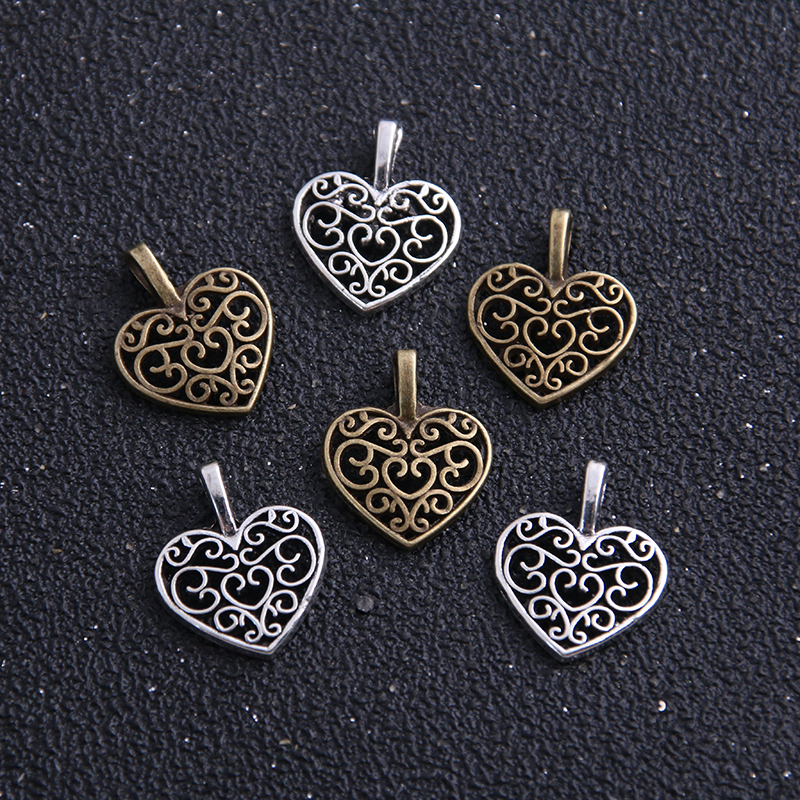 20pcs 15*16mm DIY Retro Jewelry Bracelet Necklace Antique Silver/Bronze Pendant Charms Hollow Heart