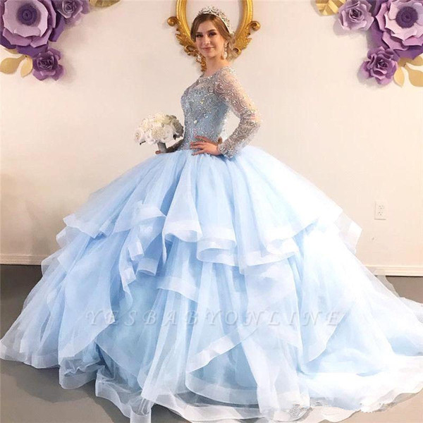 2020 Luxury Sky Blue Crystal Beaded Ball Gown Quinceanera Dresses Long Sleeves Lace Appliqued Evening Prom Gown Formal Pageant