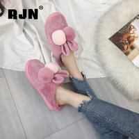 RJN Lovely Wool Slipper Stylish Mixed Color Rabbit Ear Decoration Indoor Shoes Women Slipper For Winter RO63