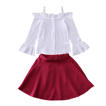 Sling Off Shoulde Tops Ruffle Skirt Outfits Newborn Baby Girl Kid Long Flare Sleeve Blouse Shirt Cotton Autumn Clothes 2Pcs Sets ruffle sleeve blouse