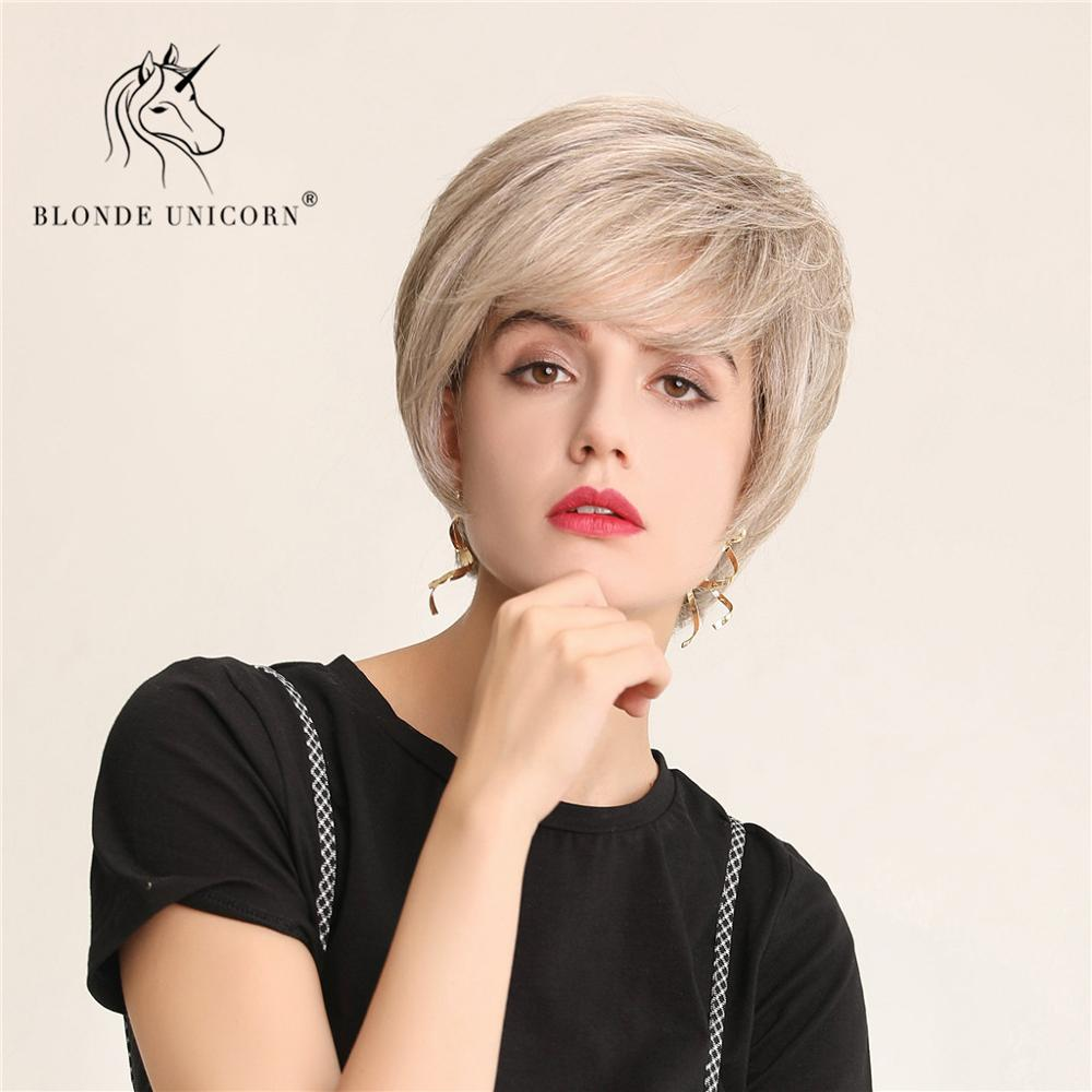 BLONDE UNICORN Fluffy Pixie Cut Short Hair Wigs Ash Grey Blonde Mix Human Hair and Synthetic Wig For Women Daily Use