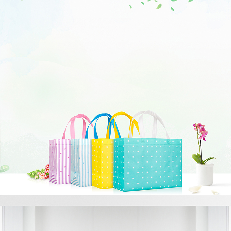 Reusable Large Folding Tote Non-woven Fabric Convenient Storage Shopping Bag
