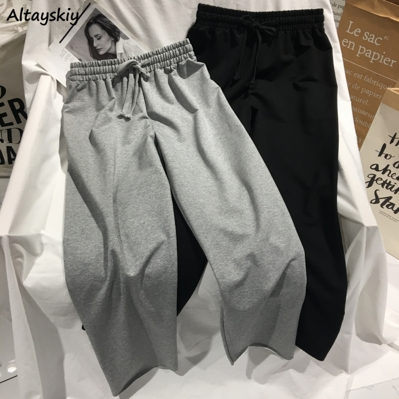 Pants Women Basic High-waist Wide Leg Womens Trousers Lady Casual Solid Casual All-match Females Loose Hot Sale Trendy Leisure