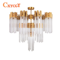 Gold Bronze Modern Glass Chandelier Luxury Living Dining Room Light Fixture Creative Design Home Decor Indoor Lighting