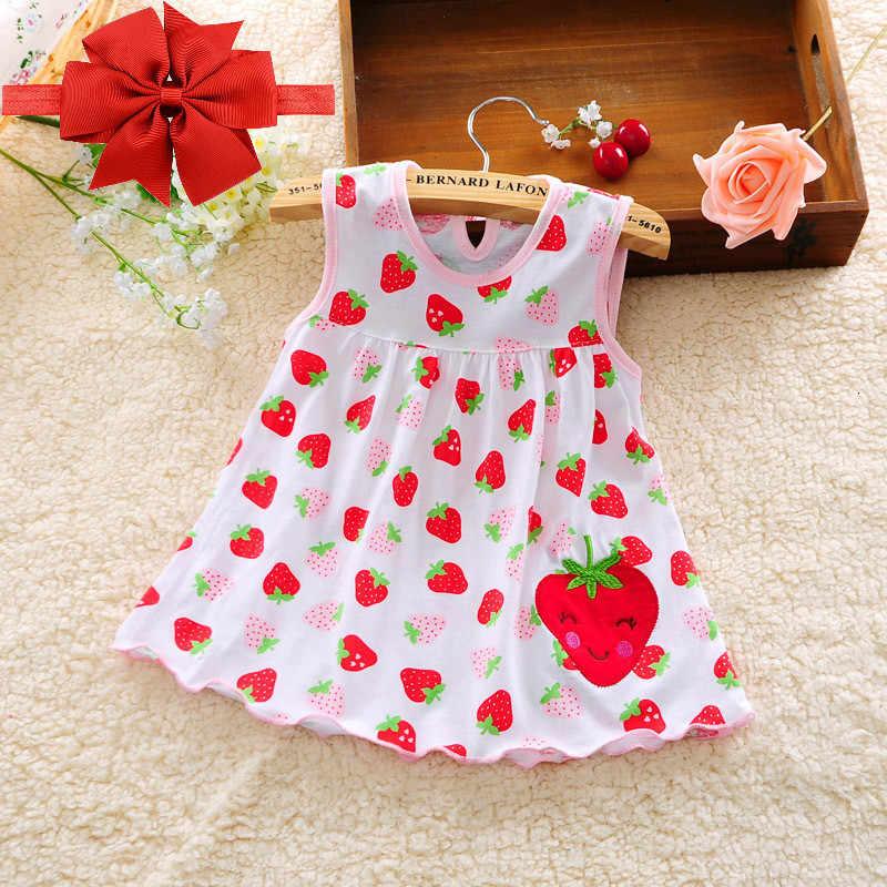 Vestido de niñas 2019 nuevo bebé flor moda puro algodón cómodo chaleco vestidos + diadema vestidos para niños
