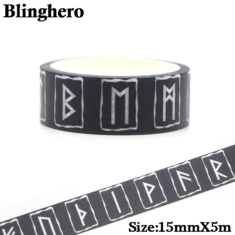 CA161 Viking Runes 90s Masking Washi Tape Decorative Adhesive Scrapbooking Stationery Stickers Paper Fanstasy Decorations 1PCS
