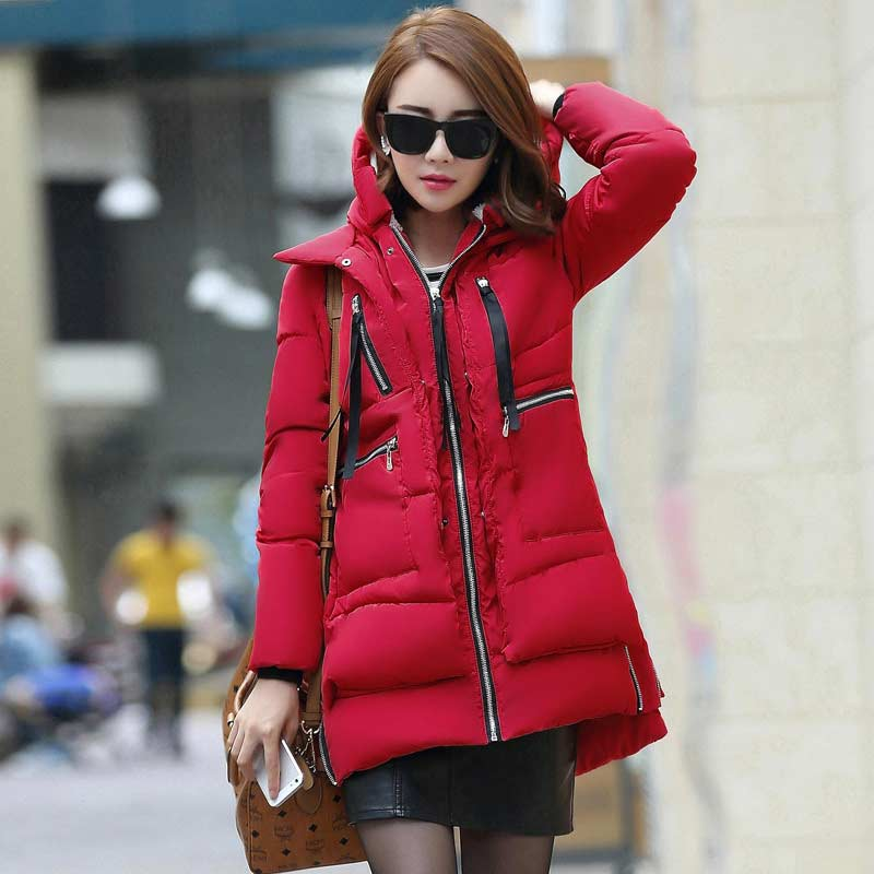 Parkas   woman winter female coats 2019 new fashion zipper solid long women winter jacket pockets polyester women down jacket