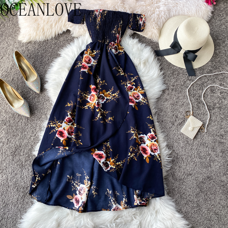 OCEANLOVE Sexy Off Shoulder Women Dress Print Floral Irregular Vestido High Waist Bohemian Beach Style Summer 2020 Dresses 14126