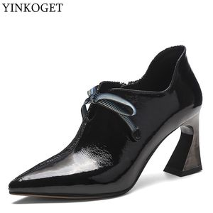 Image 1 - ALLBITEFO fashion colored genuine leather charming high heels leisure high heel shoes new spring office ladies shoes women heels