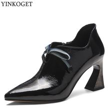 ALLBITEFO moda renkli hakiki deri büyüleyici yüksek topuklu eğlence yüksek topuk ayakkabı yeni bahar ofis bayanlar ayakkabı kadın topuklu