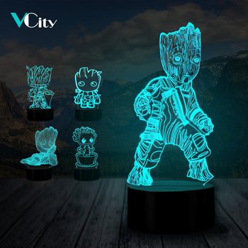 VCity Groot-Lámpara 3D para el hogar, lámpara de luz nocturna de 7...