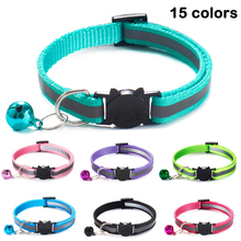 15 Colors Cats Bells Collars Adjustable Nylon Buckles Fashion Reflective Pet Collar Cat Head Pattern Supplies For Accessories