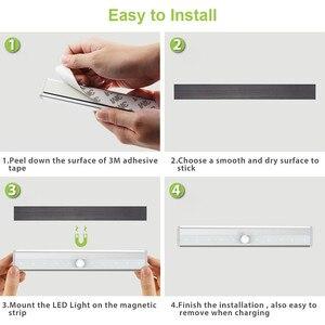Image 4 - PIR Under Cabinet Light USB Rechargeable Motion Sensor Closet Lights Wireless Magnetic Stick on Cordless 10 LED Night Light Bar